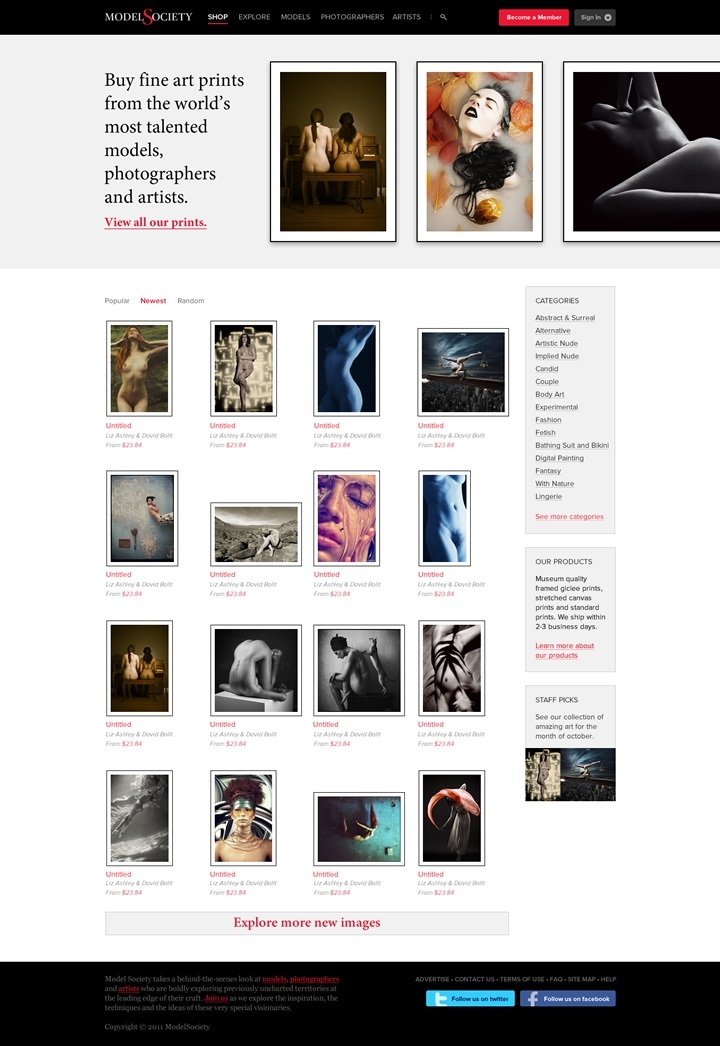 modelsociety webdesign page boutique