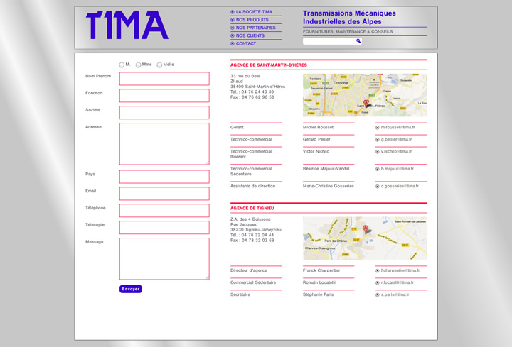 intégration tima page contact